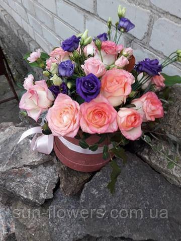 Букет - микс в шляпной коробке(розово-сиреневый)