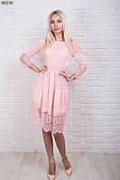 Нарядное женское платье велюр с гипюром р.44-48 AR99230-1