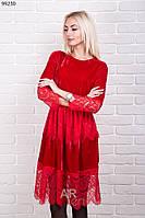 Нарядное женское платье велюр с гипюром р.44-48 AR99230-2