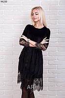 Нарядное женское платье велюр с гипюром р.44-48 AR99230-3
