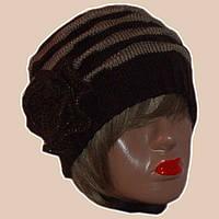 Вязаная женская зимняя шапка с цветком коричневого цвета fae390a120fb4