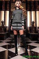 Теплая Удобная Платье Туника Серо-Черный р. S M L XL
