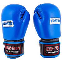 Боксерские перчатки TopTen, кожа, модель AIBA. синий, 10 унций