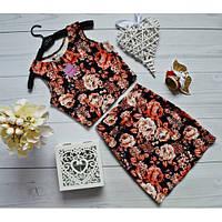 Костюм короткий топ + юбка мини розы + (4 цвета)
