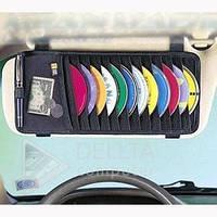 Автомобильный CD-holder, Автомобильный футляр для 18 CD дисков, черный, крепится на автомобильный козырек, Кейс для дисков