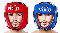 Шлем боксерский открытый кожа красный Velo (AIBA)  L, Синий