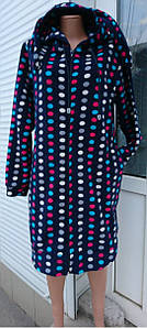 Женский махровый халат на молнии с ушками темно-синий цвет принт горох 40-50 р