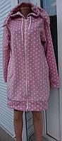 Женский халат на молнии с ушками розового цвета и принт горошек 44-46