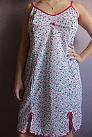 """Женская ночная сорочка  на бретельках """"Милая"""" расцветка розовые цветочки, фото 1"""
