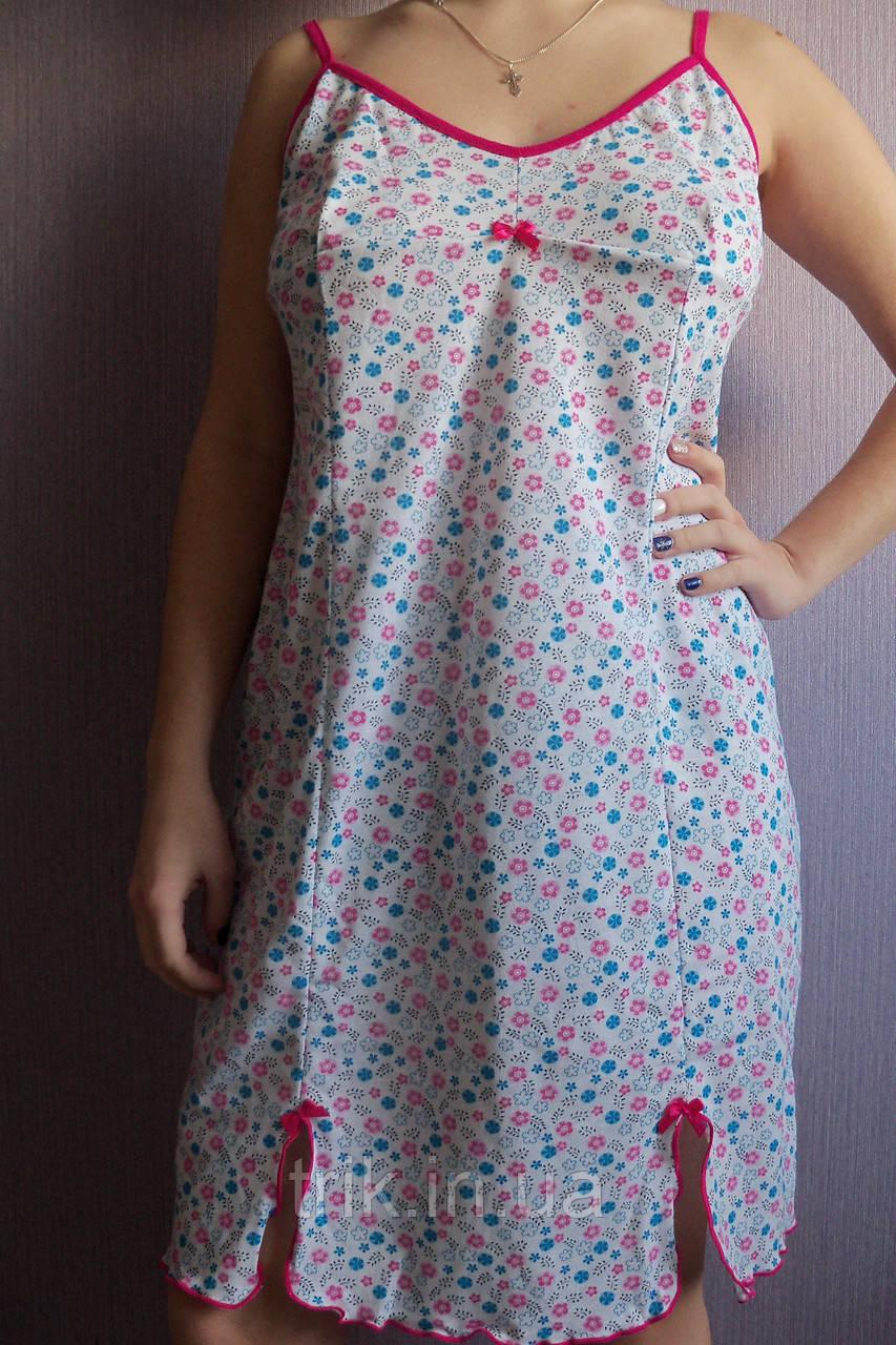 """Женская ночная сорочка  на бретельках """"Милая"""" расцветка розовые цветочки"""