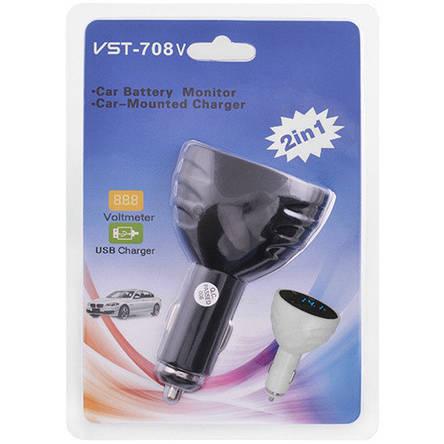 Вольтметр VST 708V, син. цифры, +2 USB, фото 2