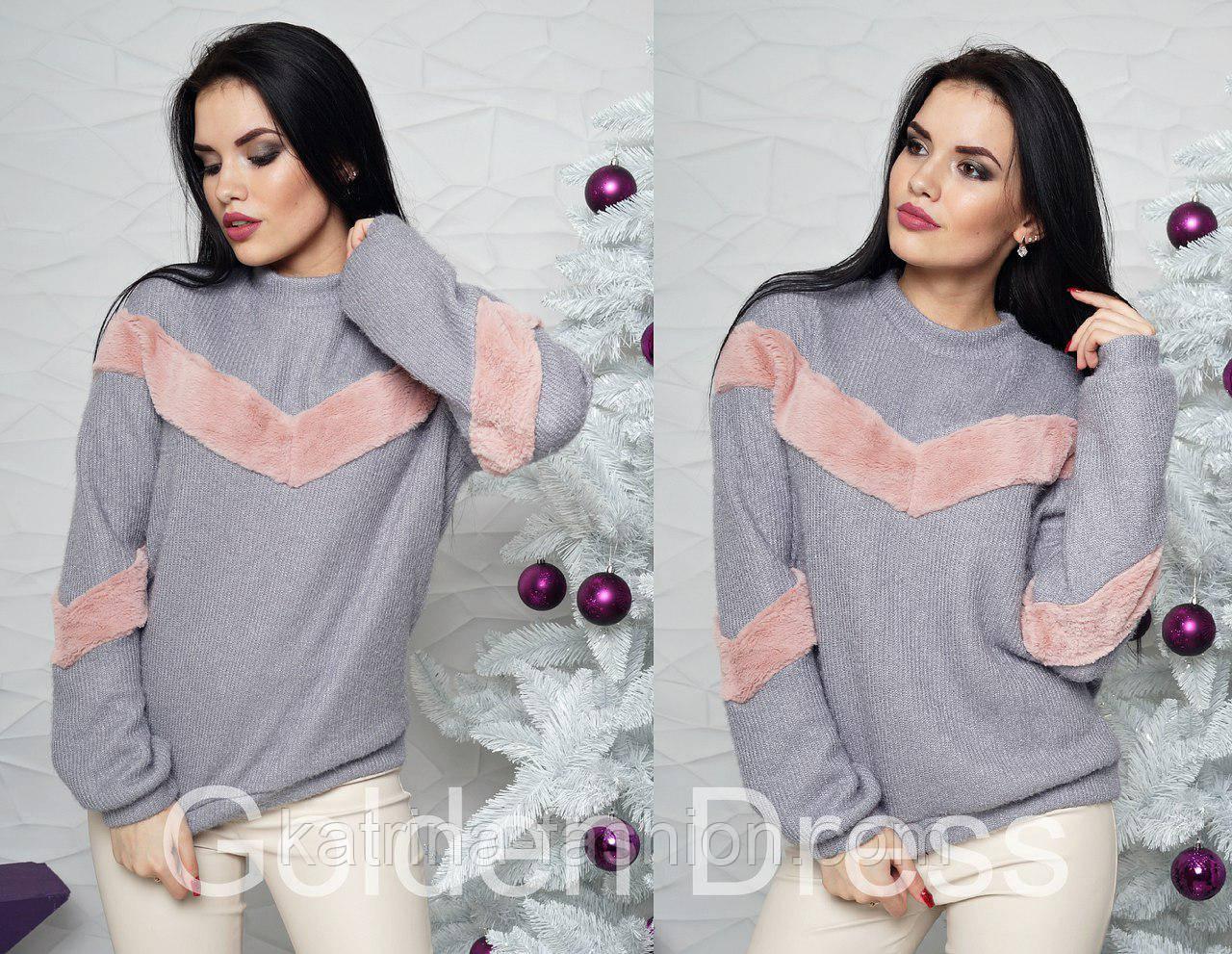 e01638bce20 Женский модный свитер с мехом (2 цвета)  продажа