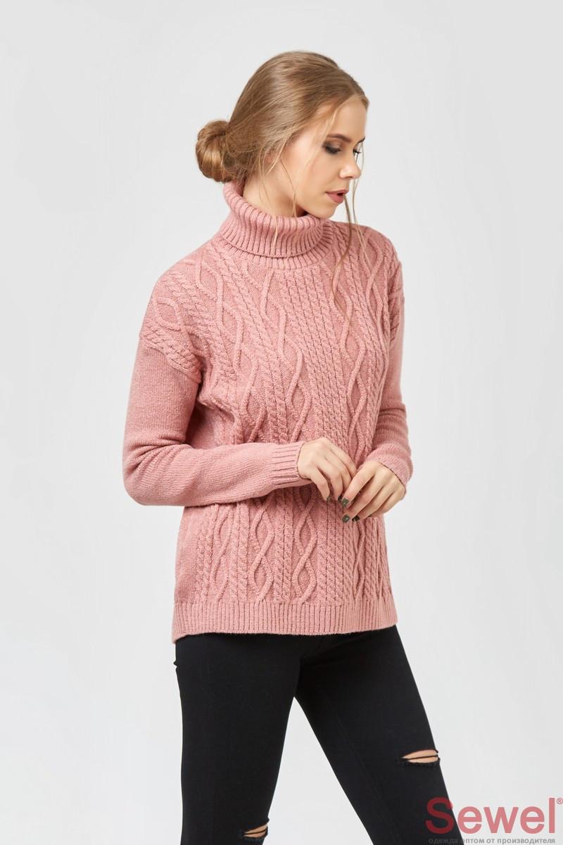 Модный женский вязаный свитер под горло