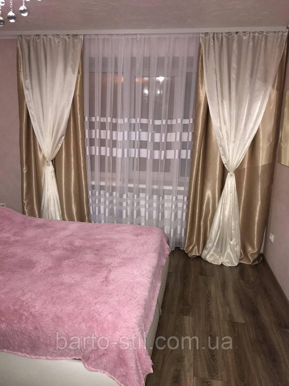 Готовые шторы из плотной ткани.