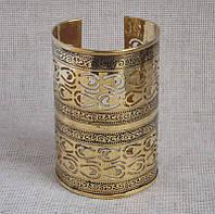 Индийский резной браслет-скоба под золото. Широкий браслет