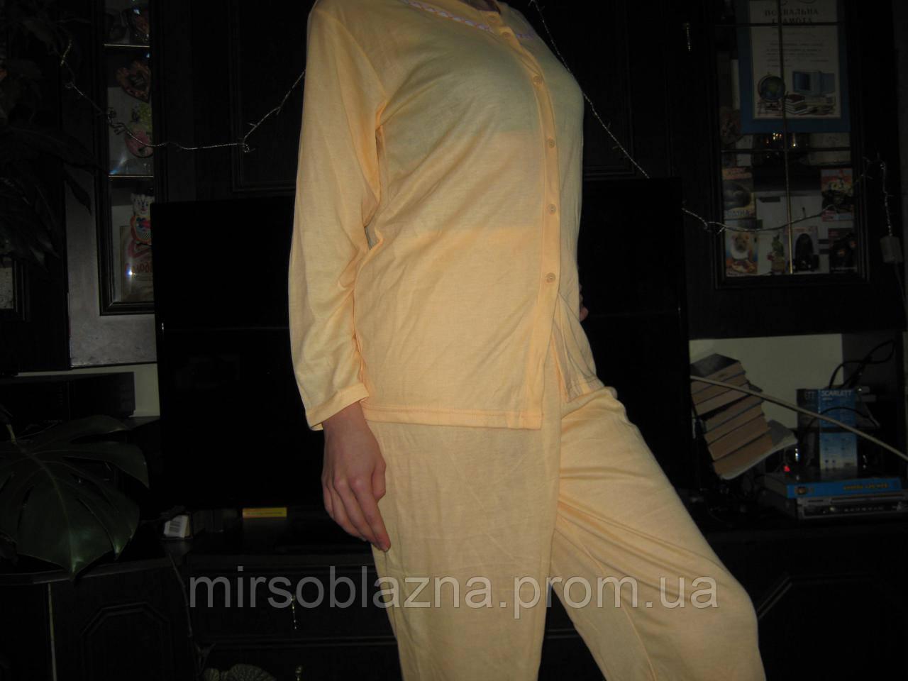 Пижама женская желтая и розовая 100% хлопок размер ХХL (50-52) на пуго
