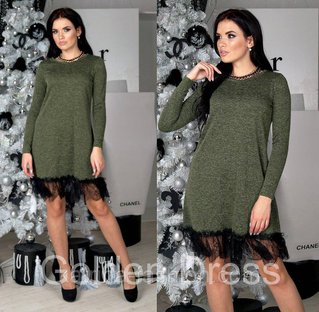 a00a1baa50f Женское модное платье ангора с кружевом  продажа