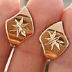 Золотые серьги с алмазными насечками без камней, фото 2