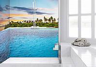 Фото панно в ванную из стекла в интерьере