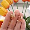 Золотые серьги с алмазными насечками без камней, фото 5