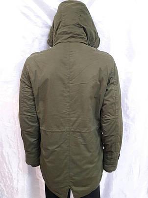 Куртка мужская теплая  демисезонная оливкового цвета, фото 2
