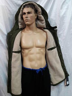Куртка мужская теплая  демисезонная оливкового цвета, фото 3