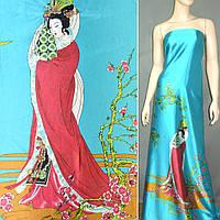 Атласная ткань стрейч бирюзовая купон с восточная девушкой атлас