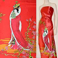 Атласная ткань стрейч красная в зеленые восторонний ветки атлас