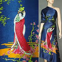 Атласная ткань стрейч синий купон с восточная девушками атлас