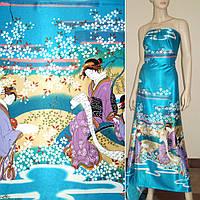 Атласная ткань стрейч бирюзовая купон с восточная девушками атлас