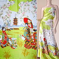 Атласная ткань стрейч салатовая купон с восточная девушками атлас