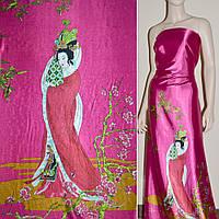 Атласная ткань стрейч малиновая купон с восточная девушка атлас