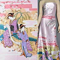 Атласная ткань стрейч бледно розовая купон с восточная девушками атлас