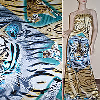 Атласная ткань стрейч бежево серая рапорт тигры атлас