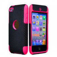 Hybrid Mesh Plastice Hard With Silicone Back Case Deep Pink для iPod Touch 4G
