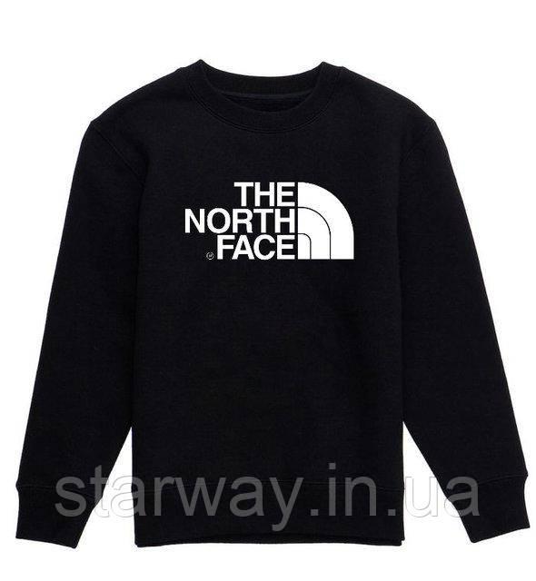 Свитшот черный белый принт The North Face | Кофта стильная