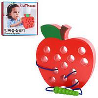 Деревянная игрушка Шнуровка MD 1160 (60шт) яблоко, 16см, в кор-ке, 18-18-3см