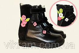 Зимние ортопедические ботинки для девочек  ИГРУШКА 2 черные с цветами