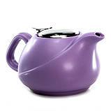 Чайник заварочный с ситечком Fissman 750 мл (Керамика с металлической крышкой), фото 2