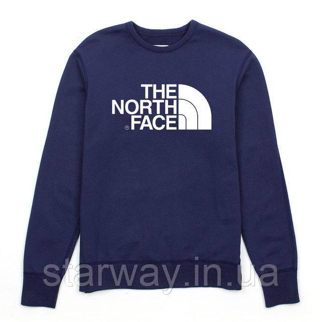 Свитшот тёмно-синий принт The North Face | Кофта стильная