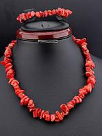 Набор украшений из коралла бусы и браслет