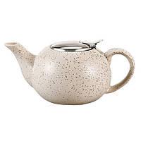 Чайник заварочный с ситечком Fissman 800 мл (Керамика с металлической крышкой), фото 1