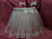 Детская юбка фатиновая с бусинами, подкладом и ажурной тесьмой. Пошив в любом цвете