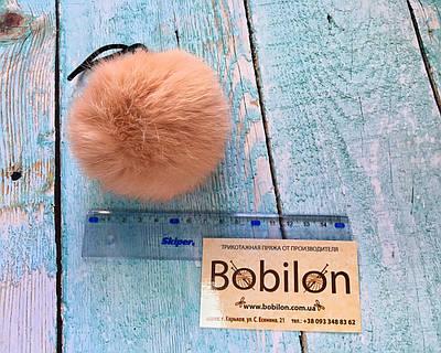 Хутряні помпони з хутра кролика, колір персик