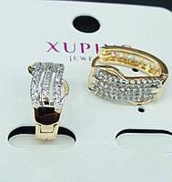 479 Классические серьги с цирконами позолота XP. Серьги позолоченные Xuping оптом.