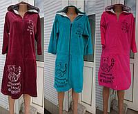 Женский велюровый халат с капюшоном на молнии с котом 40-54 р, женские велюровые халаты оптом от производителя