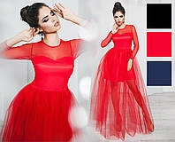 Платье вечернее, сетка, плотный атлас, фатин, длинный рукав, размер 42-46