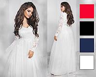 Платье гипюр, плотный атлас, фатин,  размер 42-46