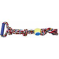 Игрушка Трикси Trixie игровой канат с мячом и пластиковой ручкой для собак 50 см