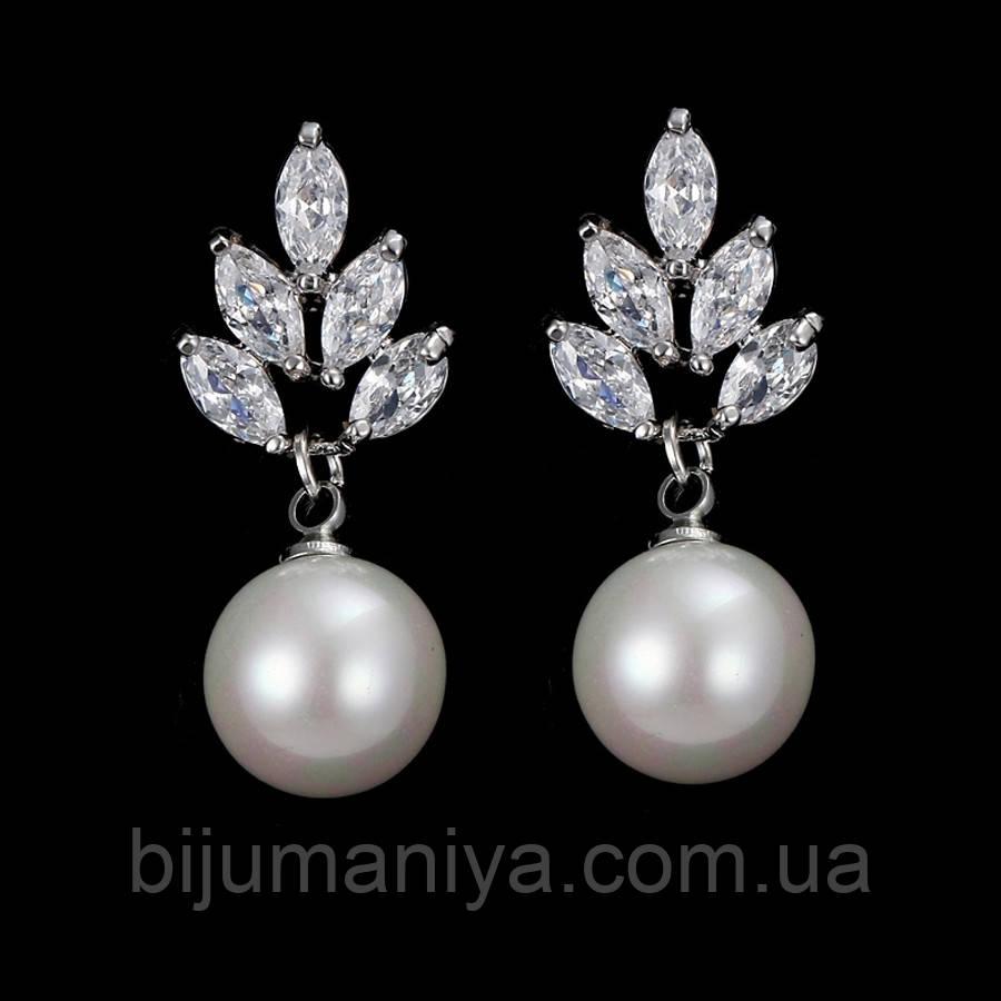 Сережки c перлами ювелірна біжутерія сріблення 4225-бж
